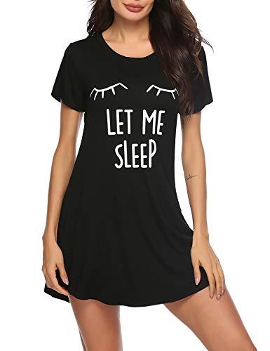 Sykooria Womens Nightgown Cotton Tee Nightshirt Sleepwear Cute Cat Printed Short Sleeve Nightdress