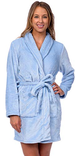 Patricia Womens Knee Length Ultrasoft Premium Plush Shawl Collar Robe (Cashmere Blue, L/XL)