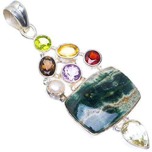 StarGems Ocean Jasper, Peridot, Smoky Quartz, Amethyst, Citrine and Topaz 925 Silver Pendant 2 5/8