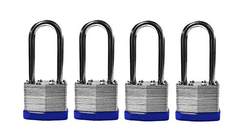 EZ Travel Collection 4-Pack Long Shackle Keyed Alike 400 Long Shank (Includes 8-Keys All Keyed Alike)