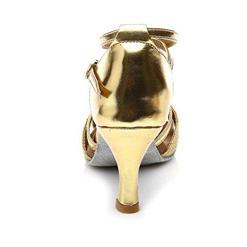 de Modelo HIPPOSEUS 5CM 7cm Latino 255 Zapatillas de Oro para 7CM Brillo del Baile Mujer Cuero tacón Altura qpgB0q