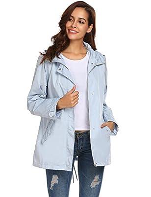 Corgy Women Casual Weatherproof Hooded Breathable Rain Coat Jacket Lightweight Windbreaker Zip Up Top