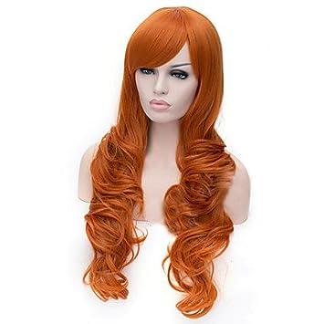 GSP-naranja de la moda europea y americana Bang inclinado peluca de pelo rizado ,
