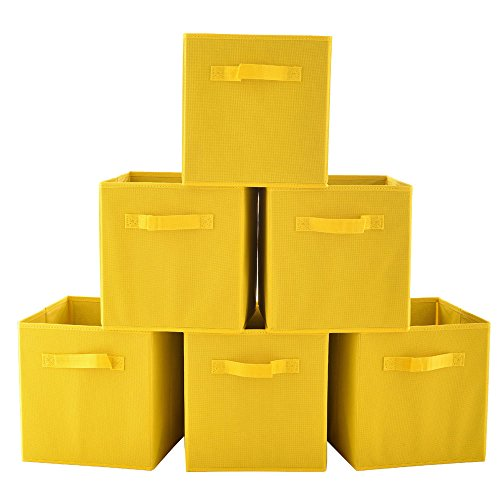 VCCUCINE Foldable Fabric Storage Containers Drawers, 6 pack Yellow Storage Cube Baskets (Storage Cubes Baskets)
