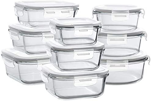 Bayco Glass Storage Containers with Lids, 9 Sets Glass Meal Prep Containers  Airtight, Glass Food Storage Containers, Glass Containers for Food Storage  ...