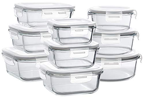 Glass Storage Containers with Lids, 9 Sets Glass Meal Prep Containers Airtight,...