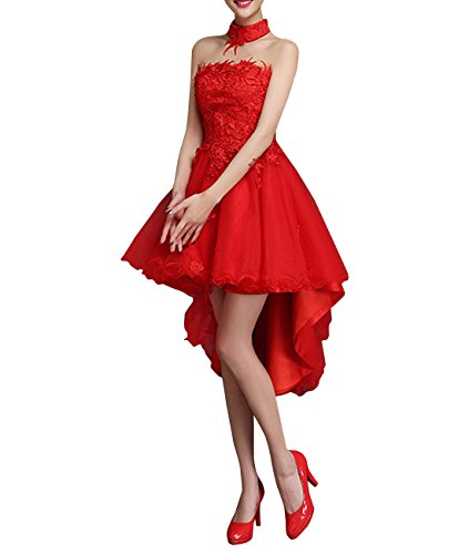 Dress High Low Duraplast Choker Red Embellished Women Prom Lace With s BaAWUWXF