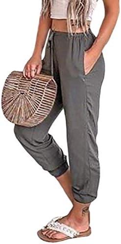 Onsoyours Mujer Color Solido Pantalones De Cintura Alta Flojo Verano Casual Pantalones Harem Con Bolsillos Pantalon Deportivo Con Cordones La Web De Yoga En Internet