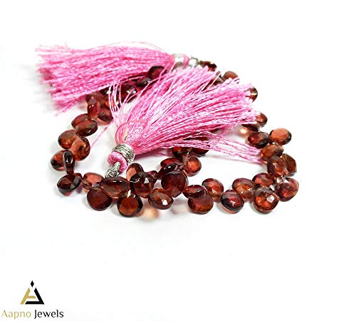 - 1 Strand Natural Mozambique Garnet Loose Beads Strand, 6x6mm 8 Inch Faceted Heart Shape Garnet Briolettes Beads, Garnet Beads Necklace, Jewelry Making Iolite Beads, Garnet Iolite Necklace