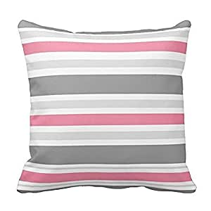 Pink and Gray Stripes Design Pillowcase Covers Decorative for Sofa 18x18 Inch Two Sides