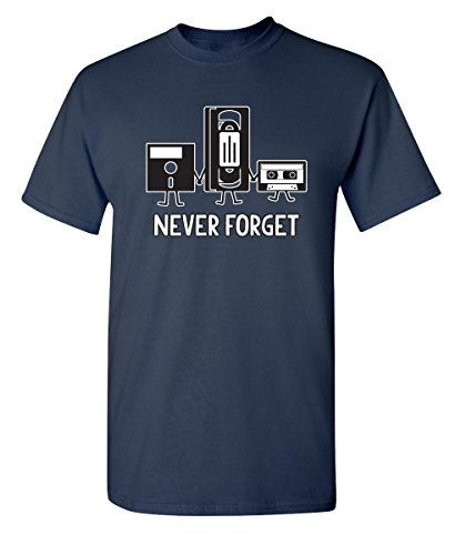 Never Forget Funny Retro Music Mens Novelty Funny T Shirt 3XL Navy