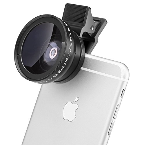 MACTREM 2 In 1 Clip-On Universal High Definition Super Camera Lens Kit for iPhone 6  6s Plus  6s  5s Samsung Mobile Phone (0.45X Super Wide Angle Lens12.5X Macro Lens37mm Thread Clip Holder)