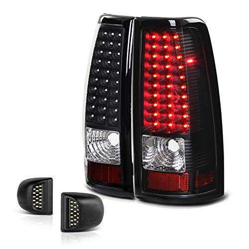 (VIPMOTOZ Black Housing LED Tail Light + Full-LED License Plate Lamp Assembly Replacement Bundle For 1999-2002 Chevy Silverado & 1999-2006 GMC Sierra 1500 2500 3500 Pickup Truck)
