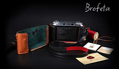 FidgetFidget Brofeta Voigtlander Bessa II Camera leathar case/Bag and Neck Strap Handmade ()