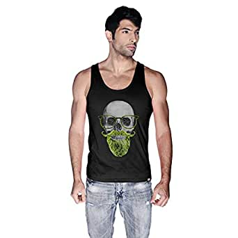 Creo Green Beard Skull Tank Top For Men - S, Black