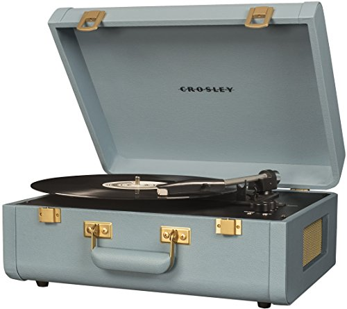 Crosley CR6252A-TN Portfolio Vintage 3-Speed Bluetooth Suitcase Turntable with Built-in Speakers, Tourmaline