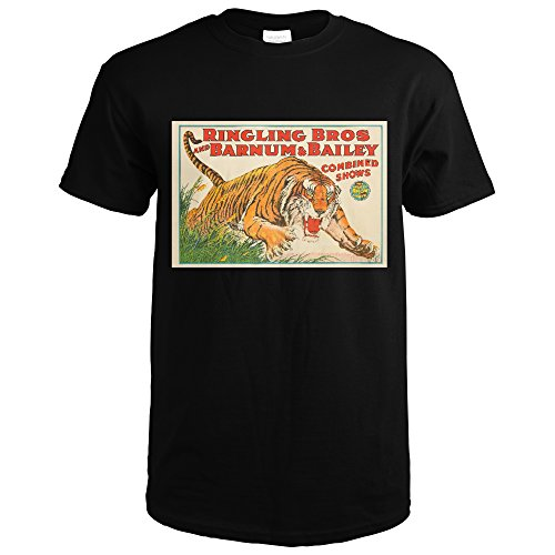 Ringling Bros and Barnum and Bailey - Tiger Vintage Poster USA c. 1931 (Black T-Shirt (Bailey Mens Clothing)