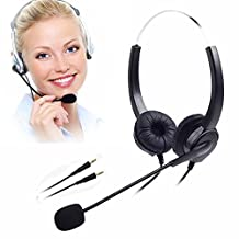 TelPal Corded Over The Head Headphones Headset 3.5mm PC Headset, Call Center computer headset 3.5mm