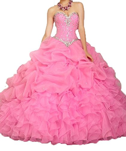 ANGELA Women's Ball Gown Organza Quinceanera Dresses Prom Gowns Hot Pink (Quinceanera Prom Gowns)