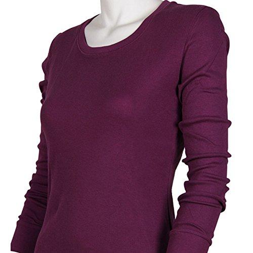 Godsen Women's Wicking Thermal Winter Shirt Crew Cotton Tops Purple) 85201802A