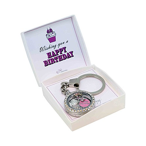 40th Birthday Gift Floating Memory Charm Key Ring With Crystals from Swarovski Gift Boxed (40th)