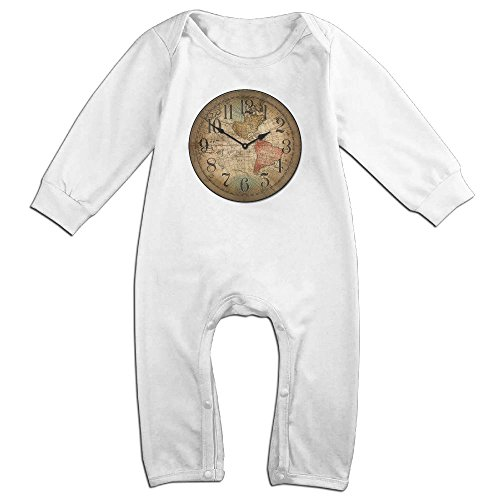 UGFGF-S Map of Clock Long Sleeve Infant 6-24 Months 100% Baby Romper Jumpsuit White 6 M
