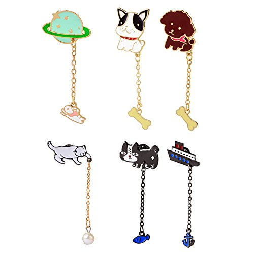 Christmas Brooches Pins Wholesale - SIVITE 6PCS Cute Cartoon Cat Dog Moon Chain Brooch Pin with Pendant for Clothes Set Hat Bag Corsage Badge