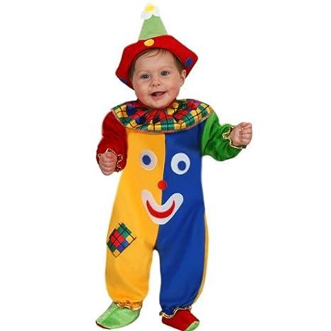 Vestito Costume Maschera Di Carnevale Neonato Pagliaccio Sorriso