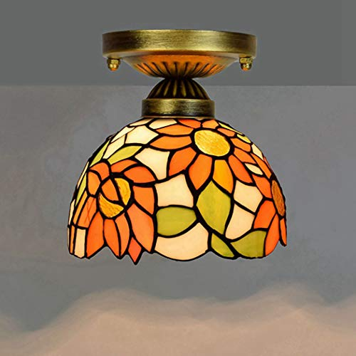 Antique Style Ceiling Pendant Light Fixture Tiffany Semi Flush Mount Ceiling Lamp Sunflower Colorful Glass Shade-1 Light for Dinner Room Bedroom,A