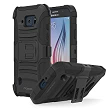 Galaxy S6 Active Case, MoKo Shock Absorbing Hard Cover Ultra Protective Heavy Duty Case with Holster Belt Clip + Built-in Kickstand for Samsung Galaxy S6 Active 5.1 Inch (2015) - Black