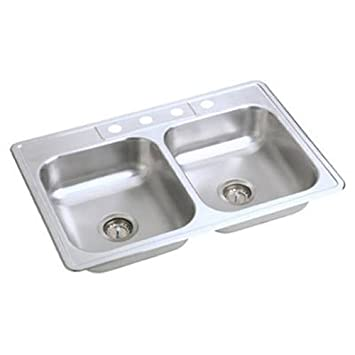 Elkay NE33224 Neptune 33-by-22-by-6-Inch Double Bowl Kitchen Sink ...