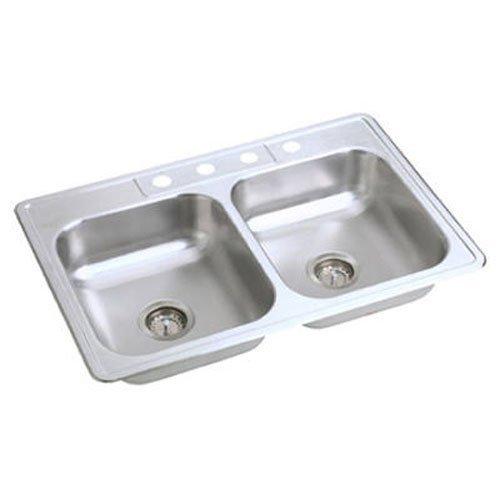 Elkay NE33224 Neptune 33-by-22-by-6-Inch Double Bowl Kitchen Sink, Stainless Steel