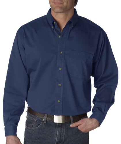 UltraClub Men's Long-Sleeve Cypress Denim with Pocket (Indigo) (Small)