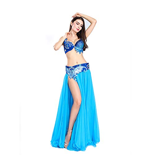 ROYAL SMEELA Belly Dance Costume Set Women Belly Dance Dresses Blue Belly Dance Skirt, 2 Colors and Various Sizes