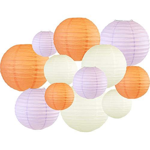Just Artifacts Decorative Round 12pcs Assorted Paper Lanterns (Color: Peach & Lavender) ()