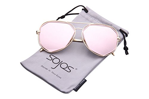 8c5562ee0c635 SojoS Fashion Metal Frame Flat Mirrored Lens Sunglasses SJ1004 With Gold  Frame Pink Lens