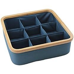 Bamboo Drawer Organizer Divider Closet Storage Bin for Underwear, Socks, Bowtie, Bra By Orino (9 cells, Ming Blue)