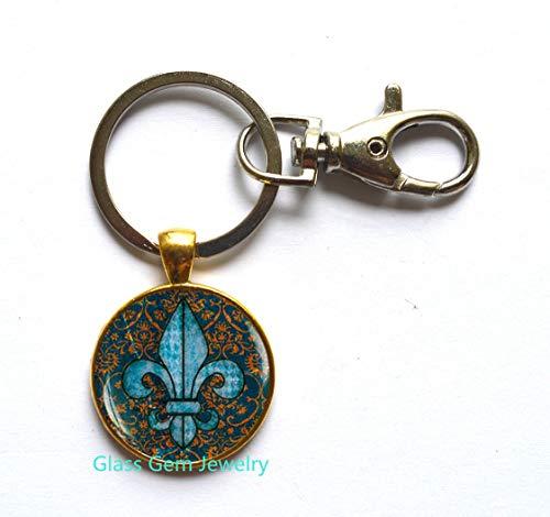 Fleur de lis Key Ring, Fleur de lis Keychain, Fleur de lis Jewelry, Heraldry Jewelry Royal Heraldic Sign,Q0068 - 12147 Lis Fleur De