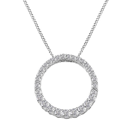 Jewel Zone US Mothers Day Jewelry Gifts 1/3 Ct Natural Diamond Circle Life Pendant Necklace 14k White Gold Over Sterling Silver