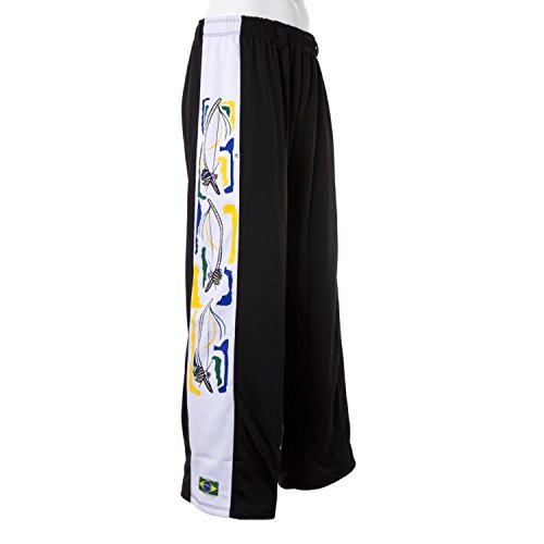 Authentic Brazilian Capoeira Martial Arts Pants - Unisex Black with Traditional, Berimbau in White Along Leg)