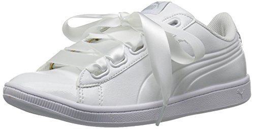 PUMA Women's Vikky Ribbon P Sneaker, White, 7 M US (Patent Ribbon)