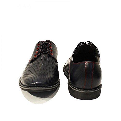 Modello Leder Italienisch Giacinto Schwarz Herren Leder Schnüren Rindsleder Handgemachtes Geprägtes Abendschuhe Schnürhalbschuhe Oxfords aqgawSrEf