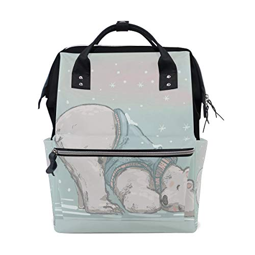 - Cute Big Polar Bear Hand Drawn Large Capacity Diaper Bags Mummy Backpack Multi Functions Nappy Nursing Bag Tote Handbag for Children Baby Care Travel Daily Women