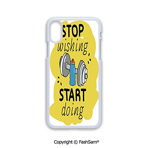 Plastic Rigid Mobile Phone case Compatible with iPhone X Black Edge Stop Wishing Start Doing Inspiring Inscription Dumbbells Water Sports Doodle Style Decorative 2D Print Hard Plastic Phone Case