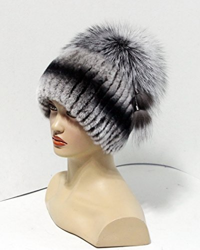 Women's fur hat on a knitted basis with Pom Pom from the fox (Grey) by FurHats&Caps