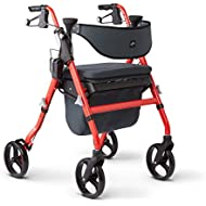 """Medline Premium Empower Rollator Walker with Seat, Comfort Handles and Thick Backrest, Folding Walker for Seniors, Microban Antimicrobial Protection, 8"""" Wheels, Red Frame"""
