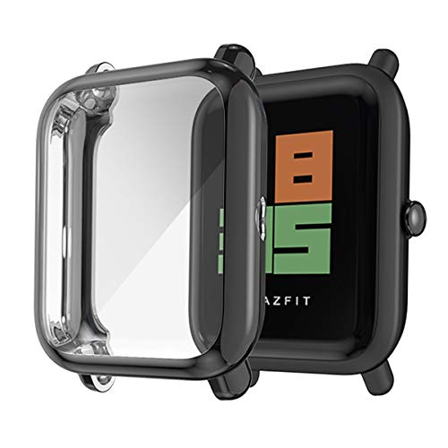 Haojavo Compatible with Amazfit Bip Smartwatch Screen Protector Case, Ultra-Thin Soft TPU All Around Full Protective Protector Case for Xiaomi Huami Amazfit Bip Smartwatch Accessories