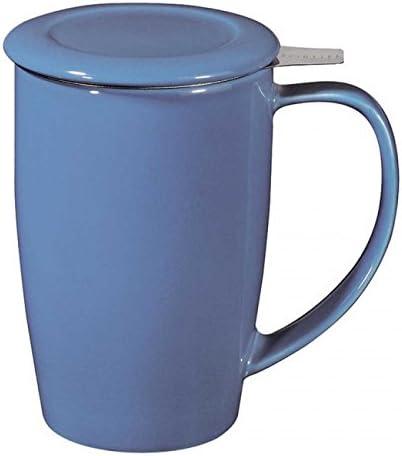 Forlife FTM-BLU Grande tasse /à th/é en c/éramique avec infuseur et couvercle Bleu