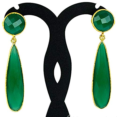 - Choose Your Smooth Bezel Gemstone Stud Earring 24k Gold Plated Exclusively by GemMartUSA - GREEN ONYX (GOER-90015)