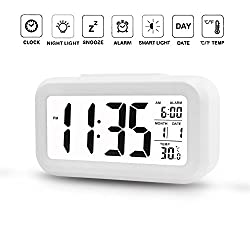 Alarm Clock Digital Large LCD Display Battery Operated Modern Portable Morning Sensor Smart Snooze Back-light Multi-function Clock Time Date Month Temperature Fits for Office Bedroom Dormitory Travel